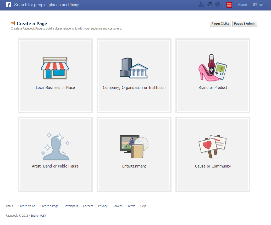 Facebook Page Creation Screen