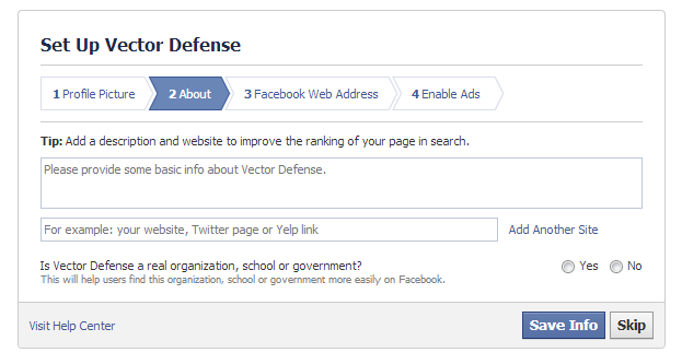 Facebook Page Description Screen